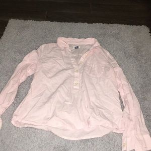Pink pin strip button up